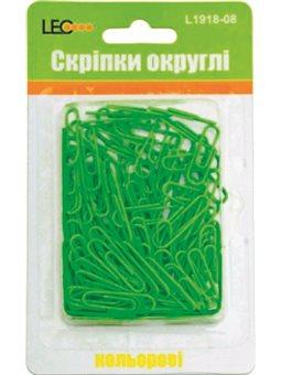 Скрепки круглые. 28мм 120шт неон зеленый L1918-08 140142