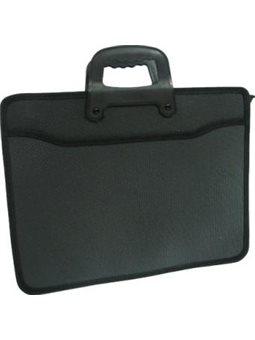 Портфель пластик., 2 от, 1 бок.карман, с ручками, 37 * 28cм, черный, Арт.419 Имп (30)