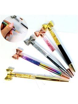 Ручка шариковая синяя, 0,5мм, металлическая, поворотлива, с бантиком, в асс., Имп (50)