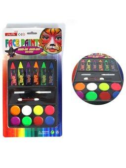 Краски для лица, 6 цветов, с споржем и карандашами (8 Когда.), Арт. HB-6 + 8, Имп