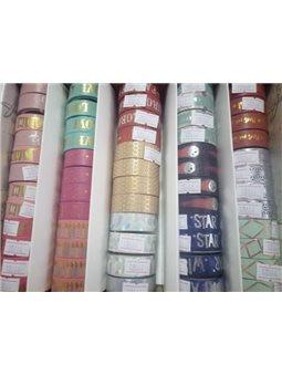 Лента декоративная бумажная, фольгированная, 1,5 см * 5м. Цветная с фольгой 60шт. / Уп. 8664
