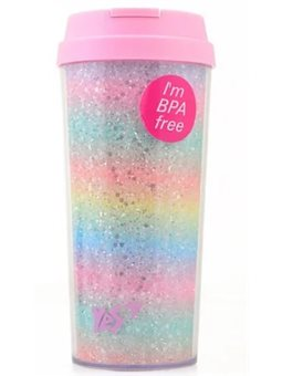 """Тамблер-стакан YES """"Rainbow"""", 480 мл, с глiтером"""