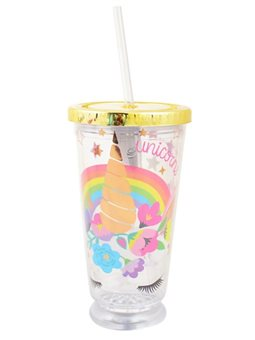 "Тамблер-стакан YES с подсветкой ""Unicorn"", 490мл, фольга, с трубочкой"