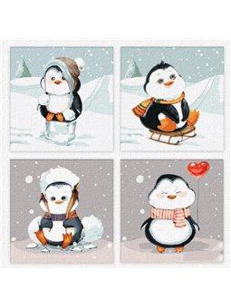 """Картины по номерам (полиптих) """"Веселая зима"""" Идейка (KNP020)"""