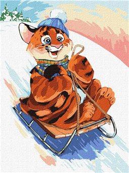 """Картина по номерам """"Развлечения тигра"""" Идейка (KHO4244)"""