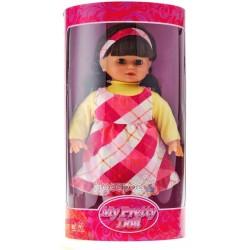 Кукла мягкая, брюнетка платье в клетку