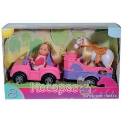 Кукла Эви и джип с трейлером и конем 5737460