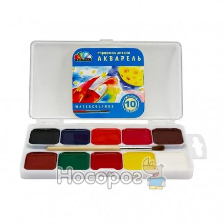 Краски Акварель Гамма 10 цв с кисточкой (пластик) 312043
