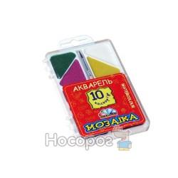 Краски Акварель Гамма Мозаика 10 цв с кисточкой (пластик) 312051