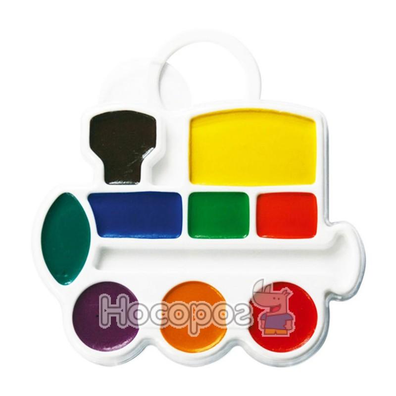 Фото Краски Акварель Луч Паровозик 9 цв пластик