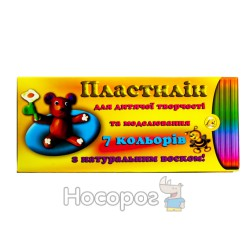 Пластилин Тетрада 7 цв. с натур.воском, карт.уп. 300 г