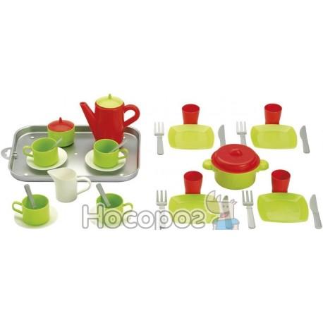 Фото Игровой набор 000972 Chef-Cook с посудой и подносом, 32 аксес., 18мес. +
