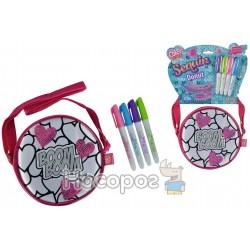 "Мини-сумочка ""Color Me Mine с блестками. Сердца"", 15 см, 4 маркеры, 6+"
