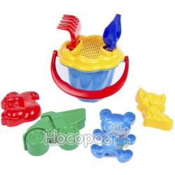 1104 Детский песочный набор (Ромашка №2) : ведерко, сито, лопатка, грабли, четыре больших паски