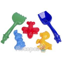 0787 Детский песочный набор (Маргаритка №2) : ведерко, лопатка, грабли, три пасочки