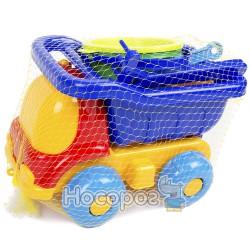 0039 Детский набор (Пчёлка №3) : машинка, ведро, сито, лопатка, грабли, три пасочки