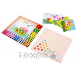 Мозайка-конструктор Цветные колышки в деревянной коробке